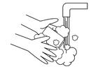 Coloriage se laver les mains
