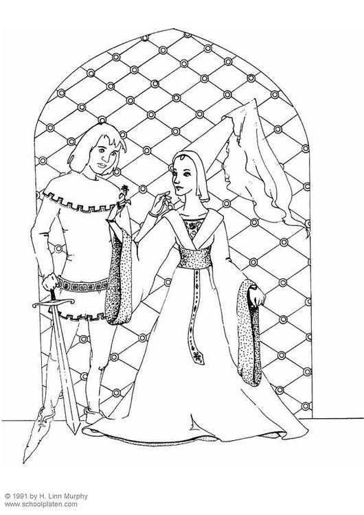 Koning Middeleeuwen Kleurplaat Coloriage Seigneur Et Dame Noble Img 3834