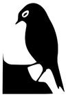 Coloriage silhouette d'oiseau