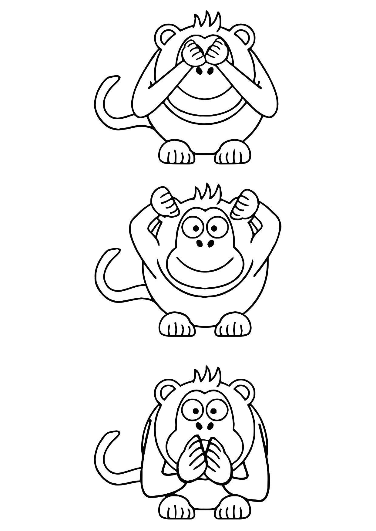 Coloriage singes de la sagesse   Coloriages Gratuits à Imprimer ...