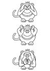 Coloriage singes de la sagesse