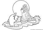 Coloriage sirène avec dauphin