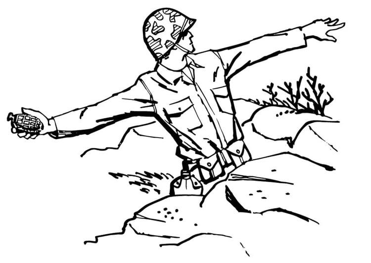 Coloriage soldat jete une grenade img 13288 images - Coloriage petit soldat ...