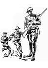 Coloriage soldat première guerre mondiale