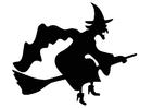 Coloriage sorcière sur balai