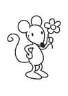 Coloriage Souris avec fleur