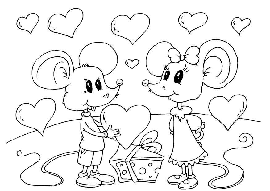 Dibujos De San Valentín: Coloriage Souris Saint-Valentin
