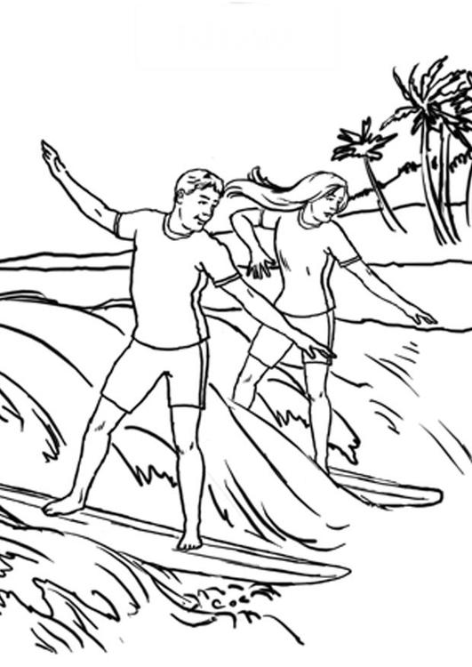 Surfeur coloriage