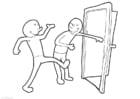 Coloriage tenir la porte ouverte