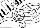 Coloriage thème de musique, note de musique