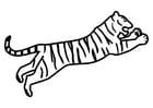 Coloriage tigre sautant