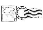 Coloriage timbre et cachet