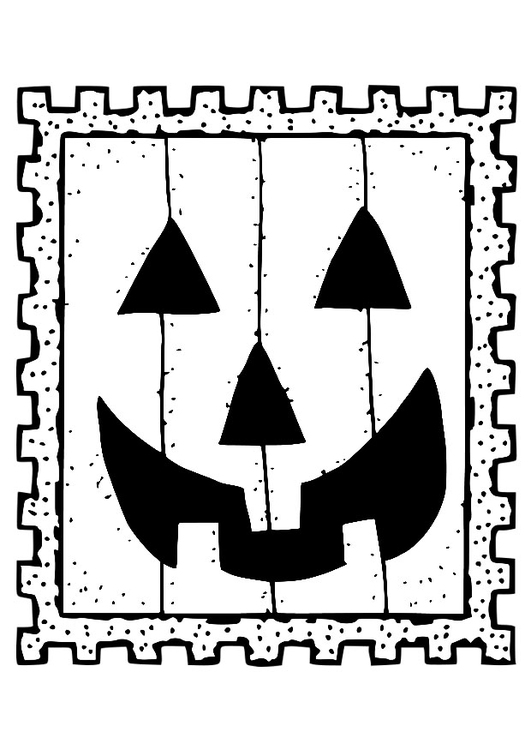 Coloriage timbre-poste Halloween