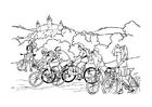 Coloriage tour en vélo
