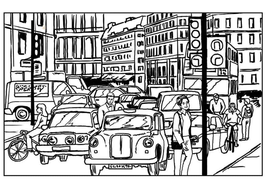 Coloriage traffic dans la ville img 7540 - Coloriage ville ...