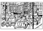 Coloriages traffic dans la ville
