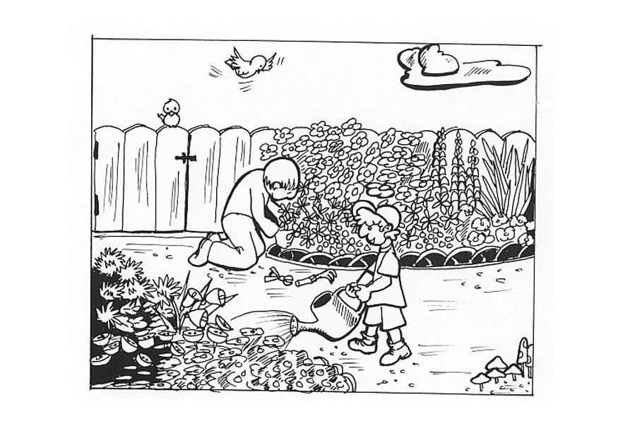 Coloriage travailler au jardin img 9605 for Jardin dessin