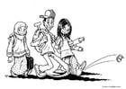Coloriage trois enfants immigrés