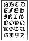 Coloriage type de lettres gothique Italien