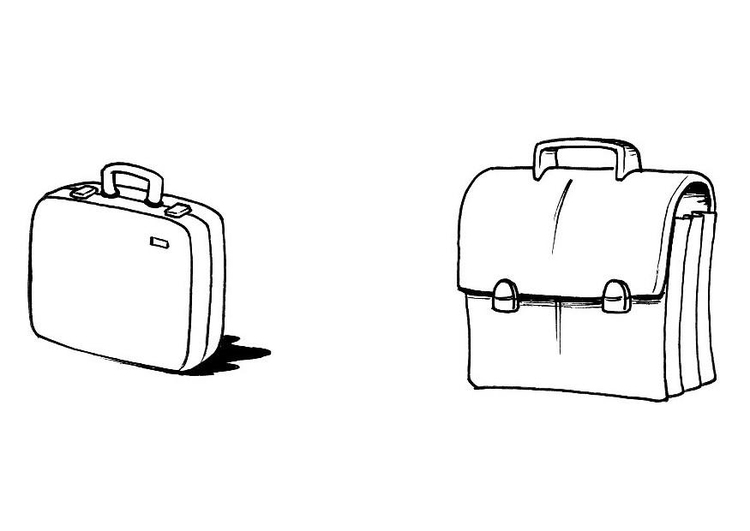 Coloriage valise + cartable