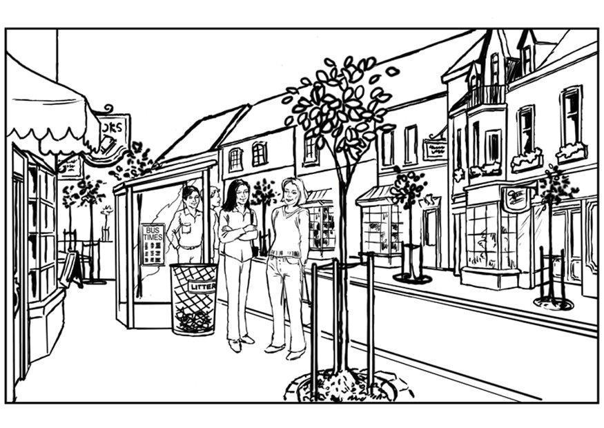 Coloriage ville img 7536 for A la piscine dessin
