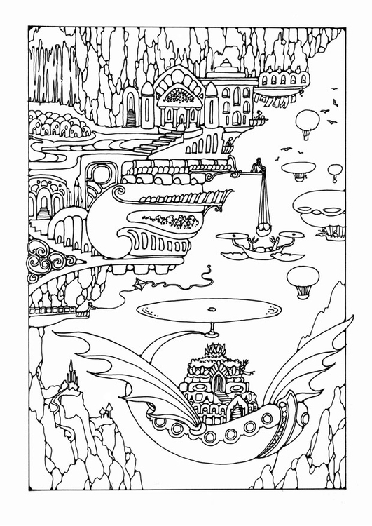 Coloriage ville f erique avec v hicules img 25644 - Dessin feerique ...