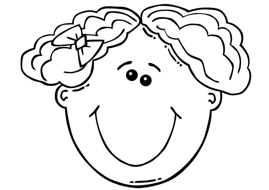 Coloriage visage de fille img 17104 - Coloriage de grande fille ...