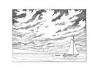 Coloriage voilier à proximité de la côte