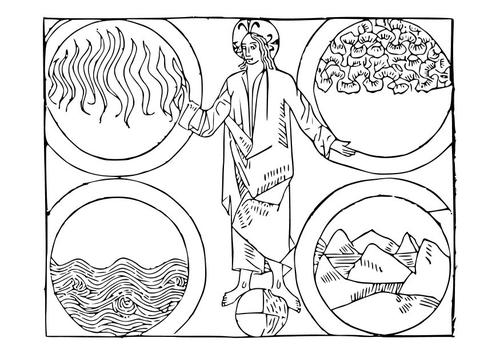 Coloriage Dieu et le 4 éléments