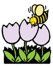 Image abeille et tulipes