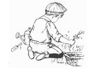 Coloriage aider dans le jardin