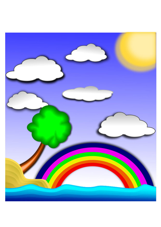 Coloriage Paysage Arc En Ciel.Image Arc En Ciel Paysage Dessin 22432