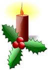Image bougie de Noël avec ilex