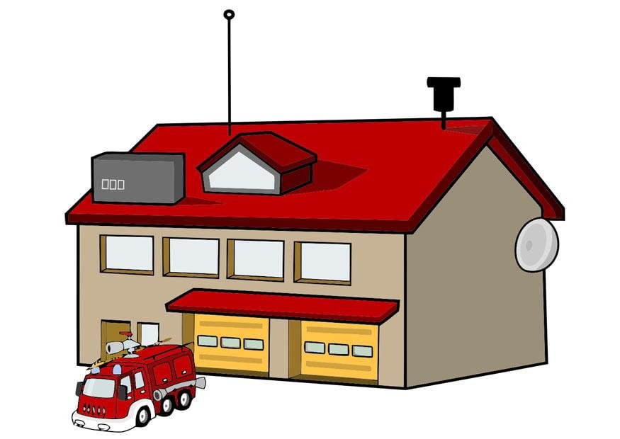 Image caserne de pompiers dessin 20761 - Dessin caserne pompier ...