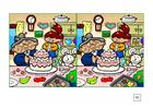 Image cherchez les différences - faire un gâteau
