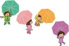Image enfants avec parapluies