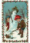 Image enfants contruisent bonhomme de neige