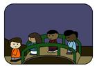 Image enfants sur le pont