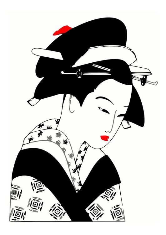 image femme japonaise dessin 11873. Black Bedroom Furniture Sets. Home Design Ideas