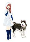 Image fille avec chien