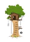 Image hutte dans les arbres