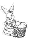 Coloriage lièvre de Pâques