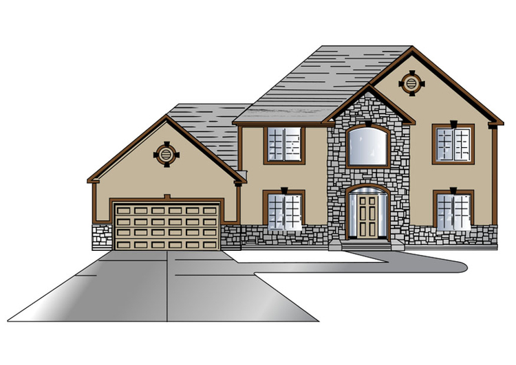 Image maison avec garage dessin 27315 for Two story house drawing