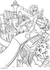 Coloriage manga - ville du futur