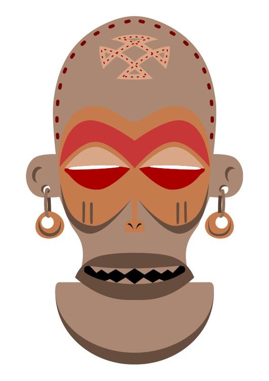Exceptionnel Image masque africain - Zaïre - Angola - Dessin 27455 MT48