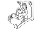 Coloriage naissance de Jésus