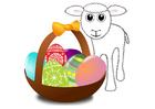 Image panier de Pâques avec agneau