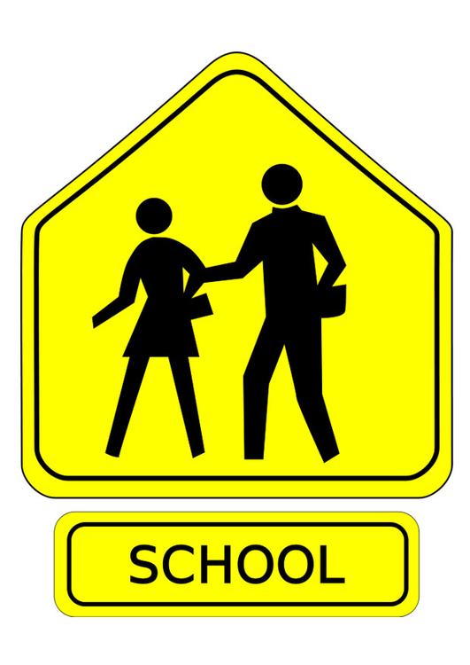 Très Image panneau de signalisation - école - Dessin 29495 SL03