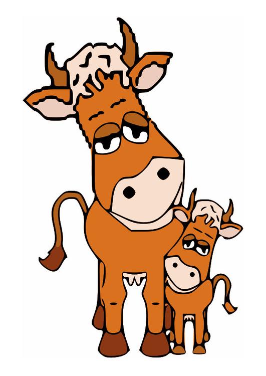 Image vache m re et veau dessin 27270 - Coloriage petit veau ...