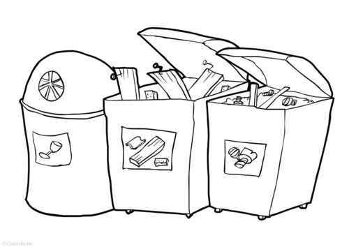 Coloriage poubelle - Dessin de poubelle ...